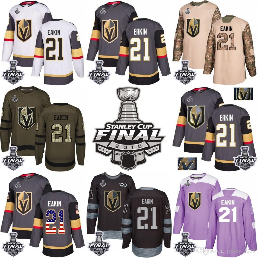 reputable site 943a0 b9621 2018 Stanley Cup 21 Cody Eakin Vegas Golden Knights Green grey USA Flag  Purple Fights Cancer Practice Camo Veterans Day Jersey