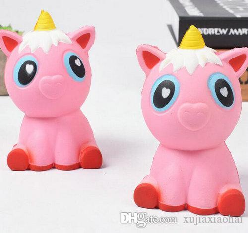 Kawaii Squishy Slow Rising Pink unicorns 11cmx7cm Soft horse Squeeze toys  Pendant Anti Stress Kid Cartoon Toy Decompression Toy