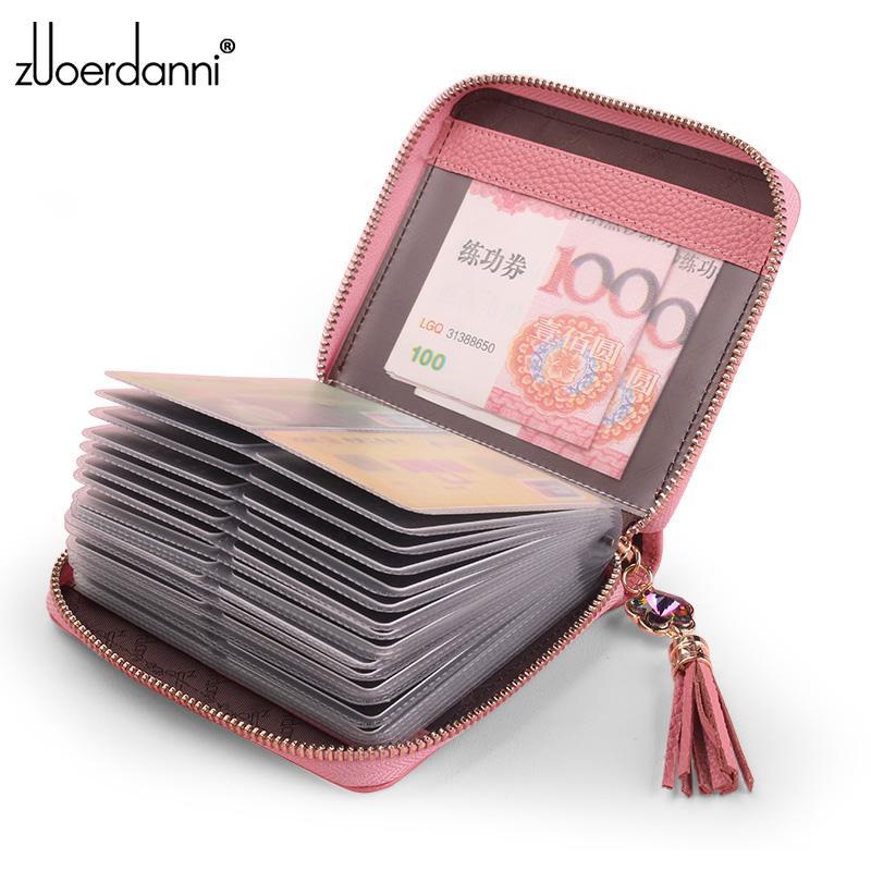 Fashion Zipper Card Bag Large Capacity Leather Women Business Card