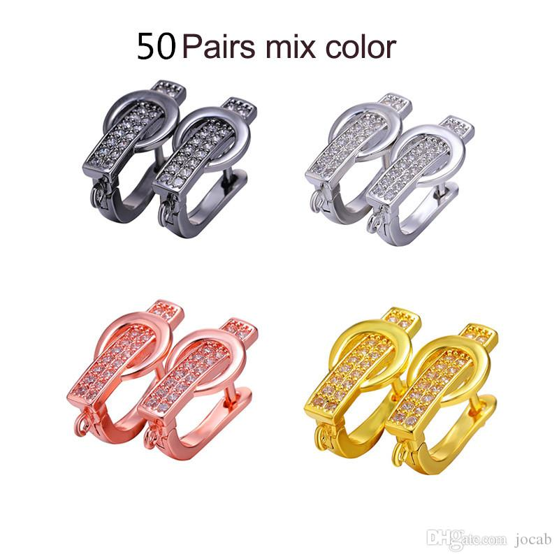 Handmade DIY Jewelry Ear Cuff Fitting Fashion Clasps Earrings Accessories Copper CZ Rhinestone DIY Findings for Jewelry Making Wholesale