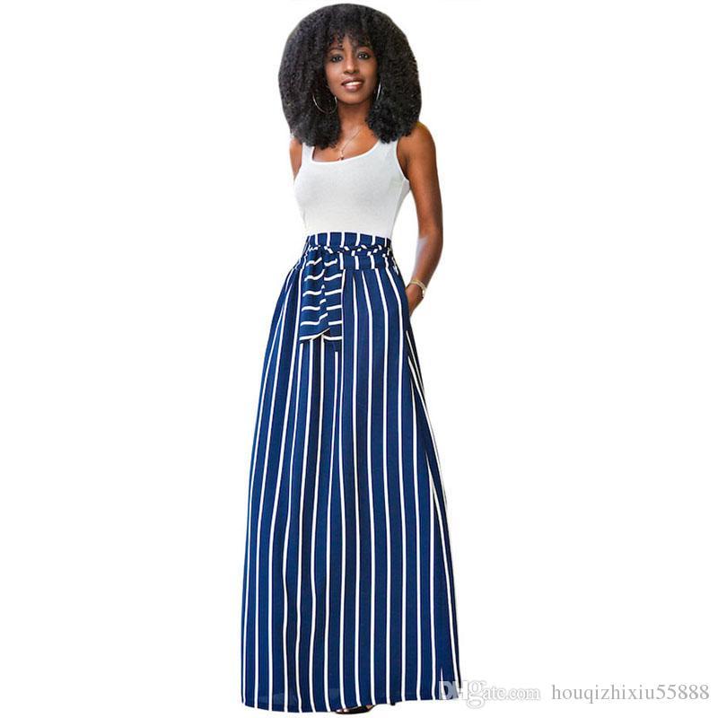 df579df2281 Acheter Automne Eté Femmes Longue Jupe Chic Colorblock Rayé Maxi Jupes  Longue Taille Taille Haute Big Hem Jupe Vintage De  22.12 Du  Houqizhixiu55888 ...