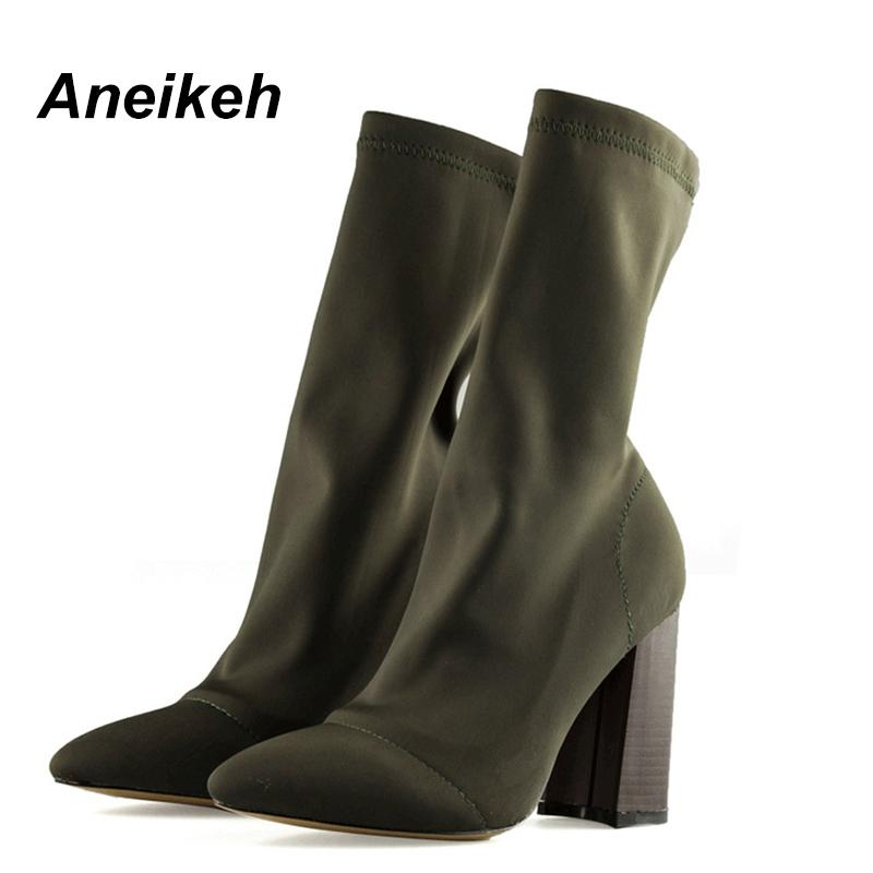 0020f669790 Aneikeh Spring Fashion Stretch Fabric High Heels Short Boots Women Pointed  Toe 8.5CM High Heels Shoes Slip On Ankle Boots Pump Cute Shoes Boots From  ...