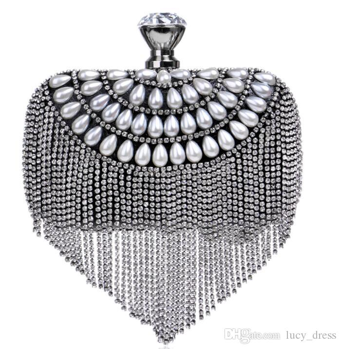 Europe and the United States Wild with Diamonds Tassel Evening Bag Variety of Color Ladies Luxury Banquet Evening Bag