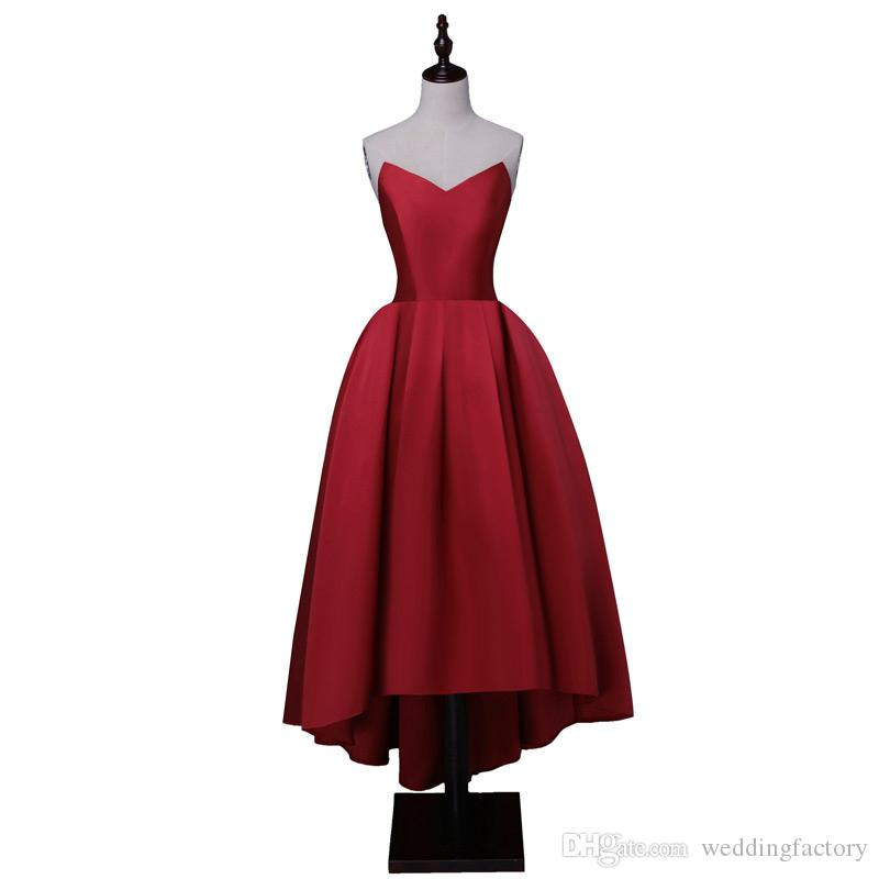 popular high low prom dress cheap high quality dark red corset back