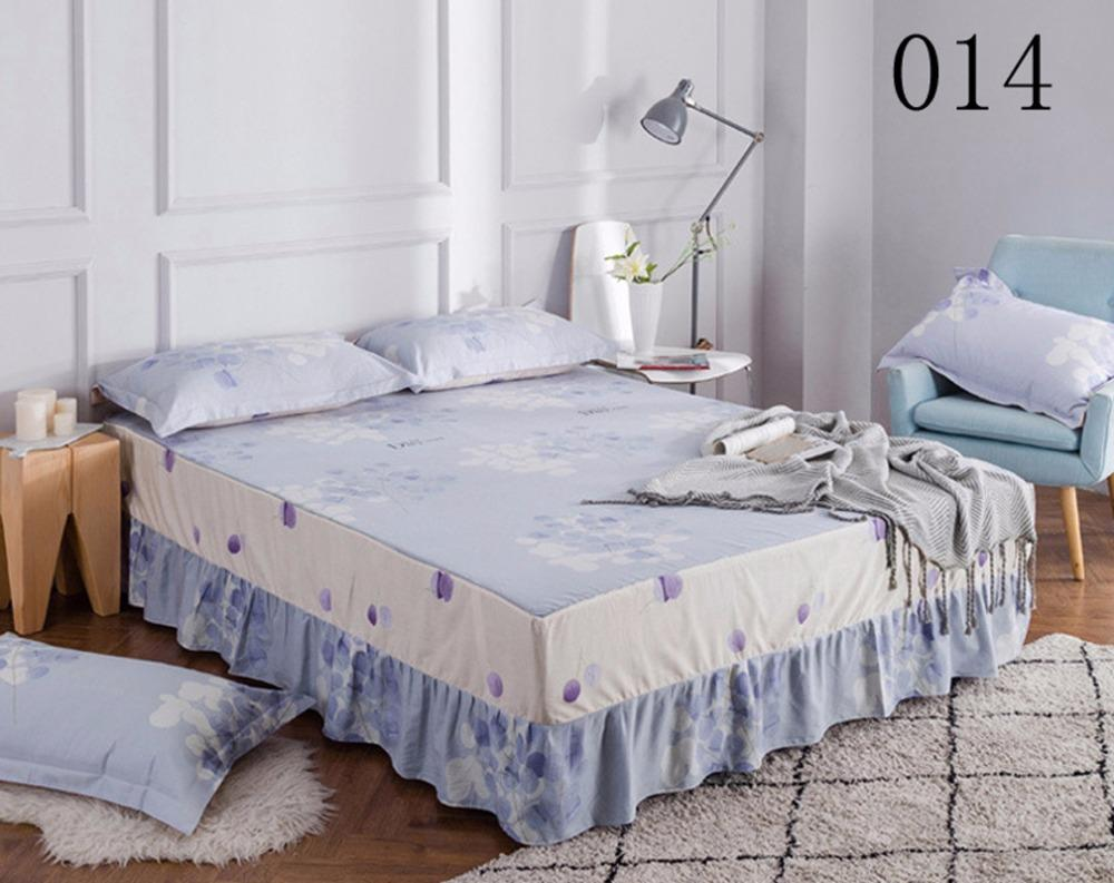 Blue Cotton Bed Skirt Mattress Cover Petticoat Twin Full Queen King