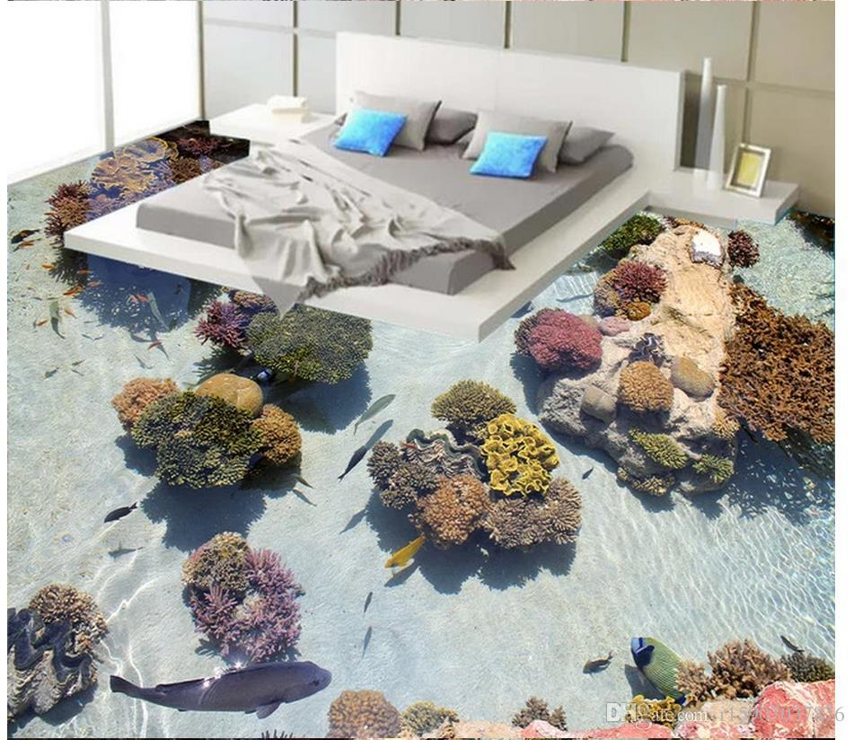 Floor painting wallpaper custom 3d Mediterranean fresco wallpaper Coral Tropical Fish Ocean 3D Floor Painting Self adhesive 3D Flooring