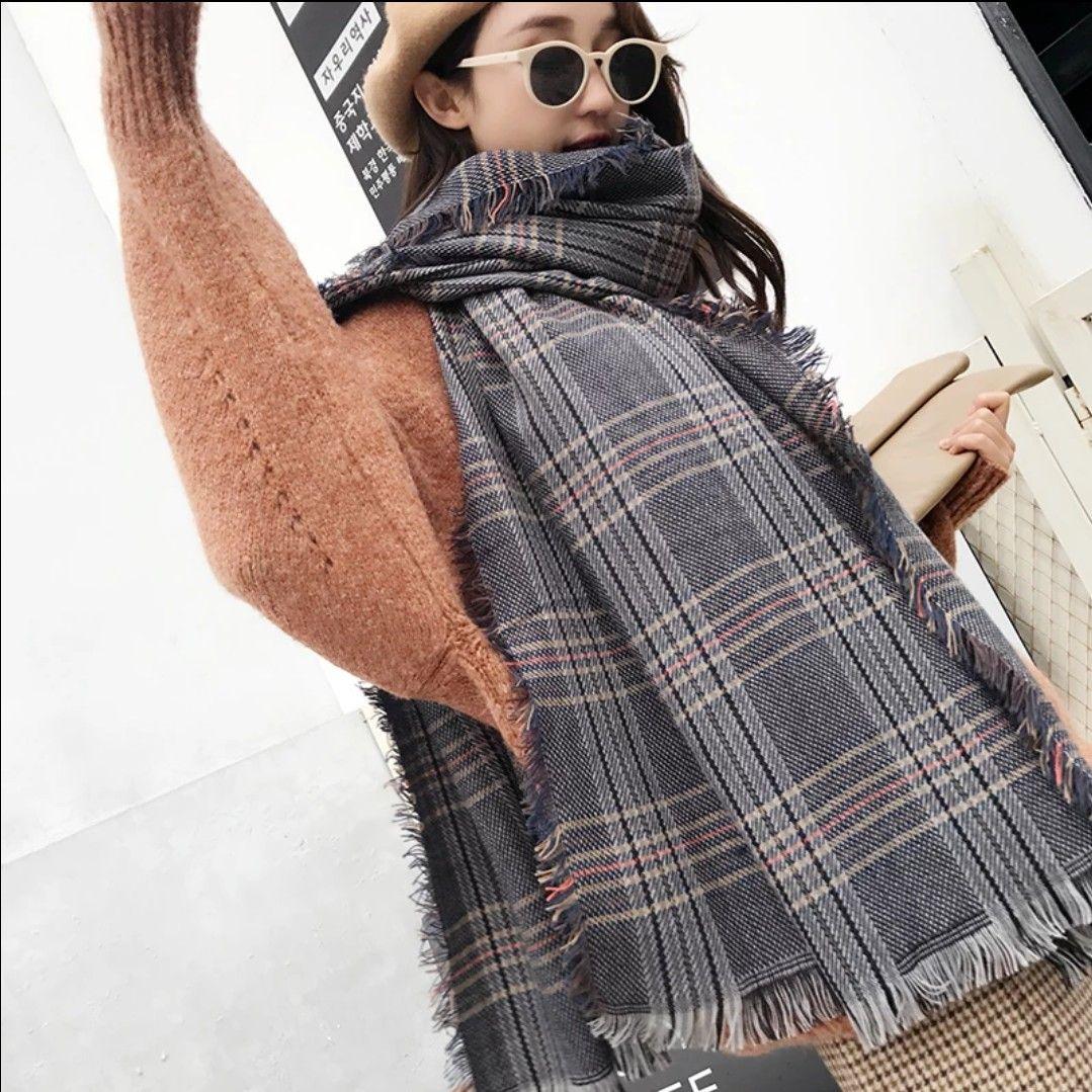Compre Bufanda Mujer Invierno Versión Coreana De The British Thousand Bird  Grid Tejer Lana Bufanda Cuello Otoño Invierno Cálido Estudiantes Estilo  Largo ... a7efb906e5e