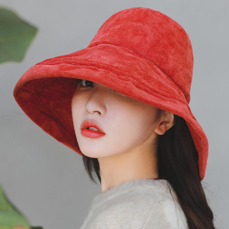 2019 HT1956 Autumn Winter Bucket Hats Big Wide Brim Sun Hats For Women  Solid Plain Corduroy Fishing Hats Ladies Fisherman Bucket Caps D18110601  From ... 49b7b5b1a1e
