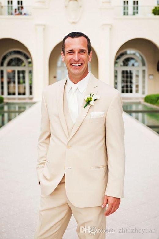 Custom Made Beige Groom Tuxedos Notch Lapel Men Wedding Prom Suits Slim Fit Groomsmen Best Man Suits (Jacket+Pants+Vest)