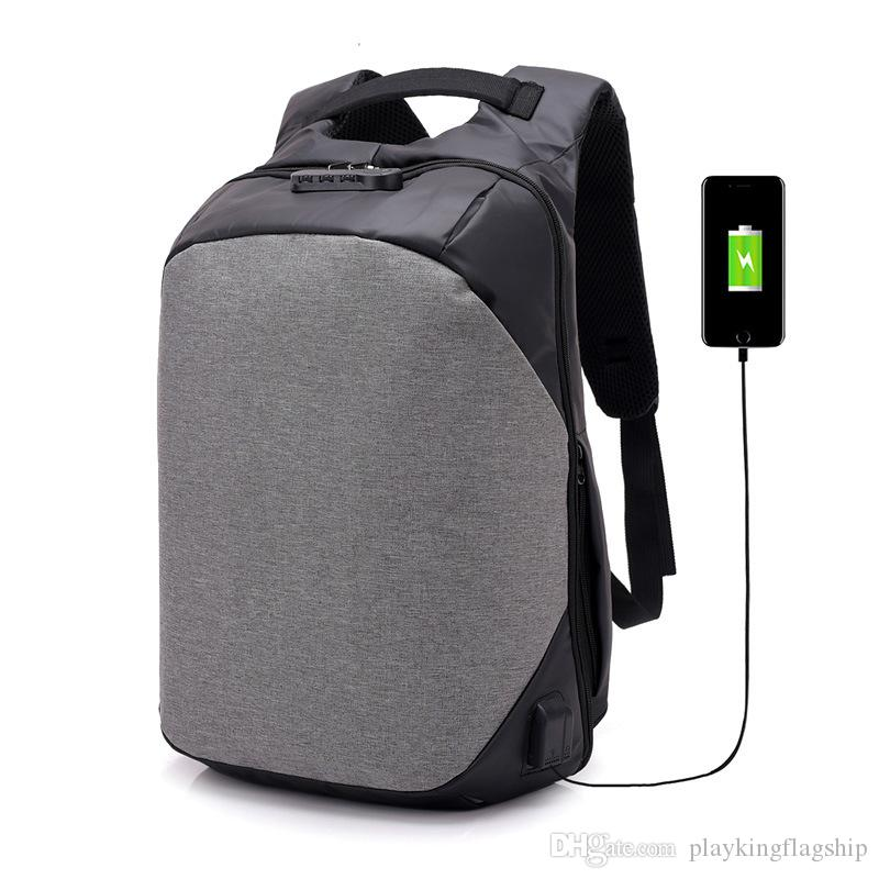 Man Anti Theft Backpack Male Laptop Backpack USB Charger Waterproof ... 22e727e61215d
