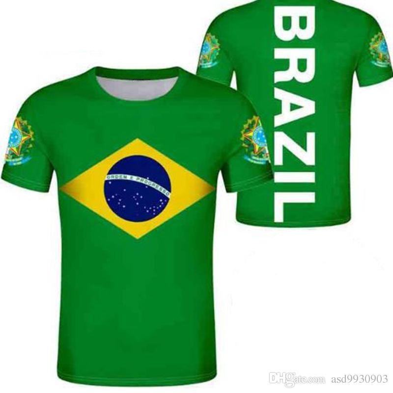 e8ba628a8 Acquista BRASILE Maglietta Gratis Nome Personalizzato Numero Reggiseno  Paese T Shirt Portogallo Br Bandiera Stampa Portoghese Foto Brasil  Federativa Diy ...