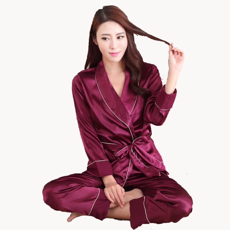 Womens Lace Silk Sleepwear Pajamas Sets Satin Spring Autumn Long-sleeved Pyjama  Leisure Loungewear Purple Set All Seasons Pajama Sets Sleepwear Pajamas ... 323287a2a