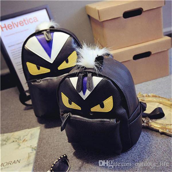Best Wholesale Women S Backpack Designer Black Cartoon Eyes Monster  Backpacks With Fur Travel Bag Cute Backpacks Under  25.13  92c8b7f9028f6