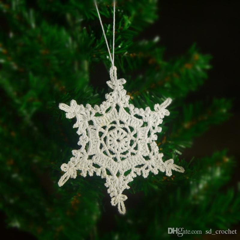 Christbaumkugeln Anhänger.Handmade Gehäkelte Christbaumkugeln Hängen Dekorationen Weihnachtsbaum Anhänger Weihnachtsschmuck 1 Satz Von 10 Schneeflocke Sd009