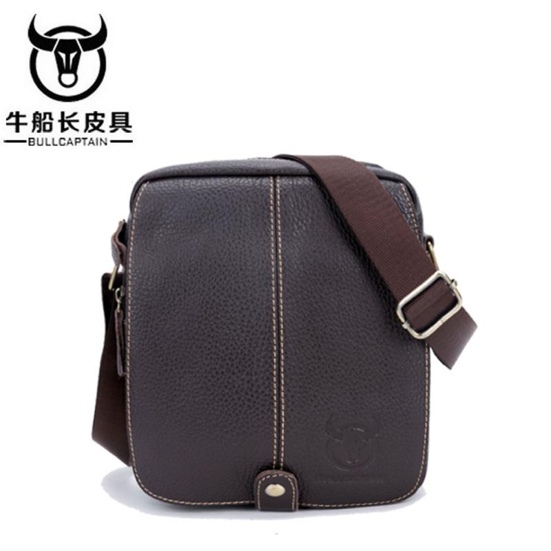 BULLCAPTAIN Fashion 2018 Men s Genuine Leather Crossbody Bags Small ... b30e48d01b