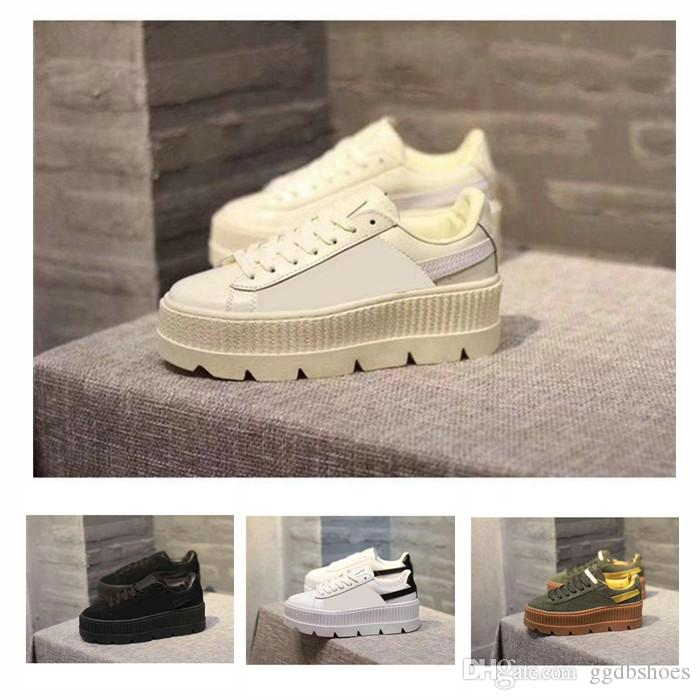 5131884c212 2018 Fashion Rihanna Shoes Suede Cleated Creeper Womens Black Green Yellow  White Fenty Creepers Casual Shoes Sneakers Size 36 39 Brown Shoes Formal  Shoes ...