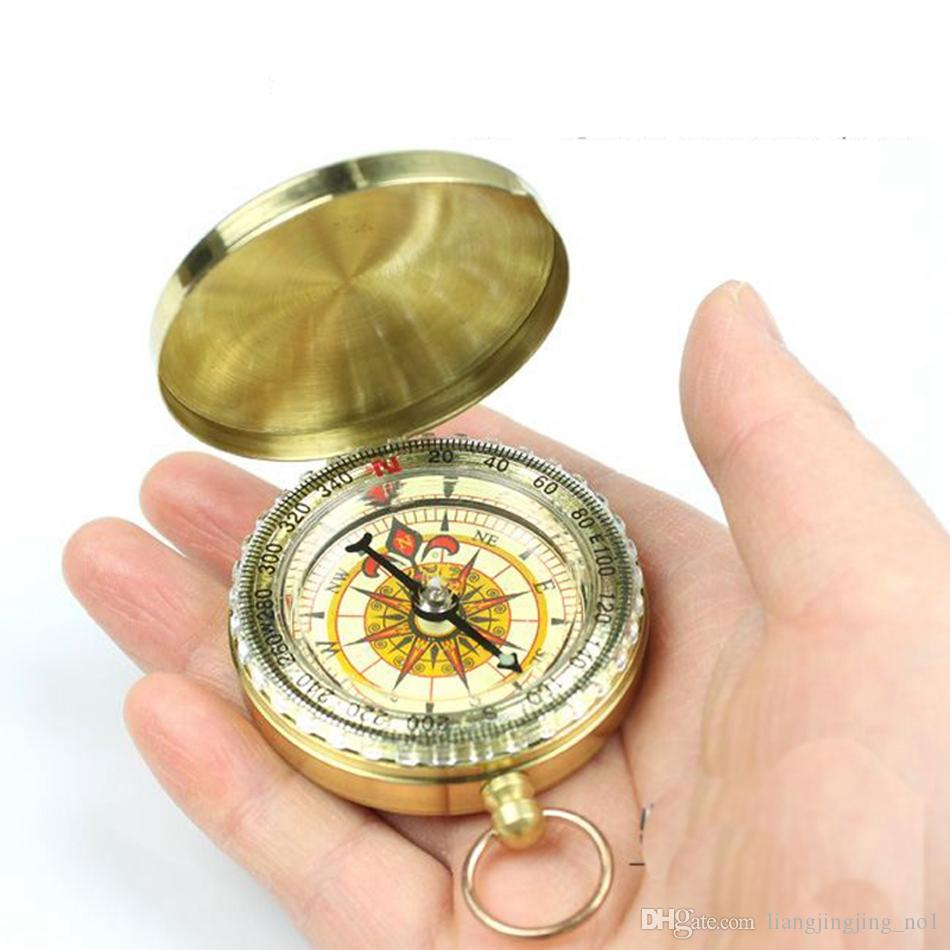 G50 Traditional Brass Metal Luminous Compass Pocket Antique Camping Hiking Portable Watch Compass Keychain Flip Noctilucence OOA4666
