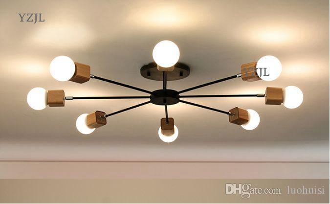 Japanese korea light minimalist living room creative Chinese lighting chandeliers simple bedroom vintage study lamp chandelier