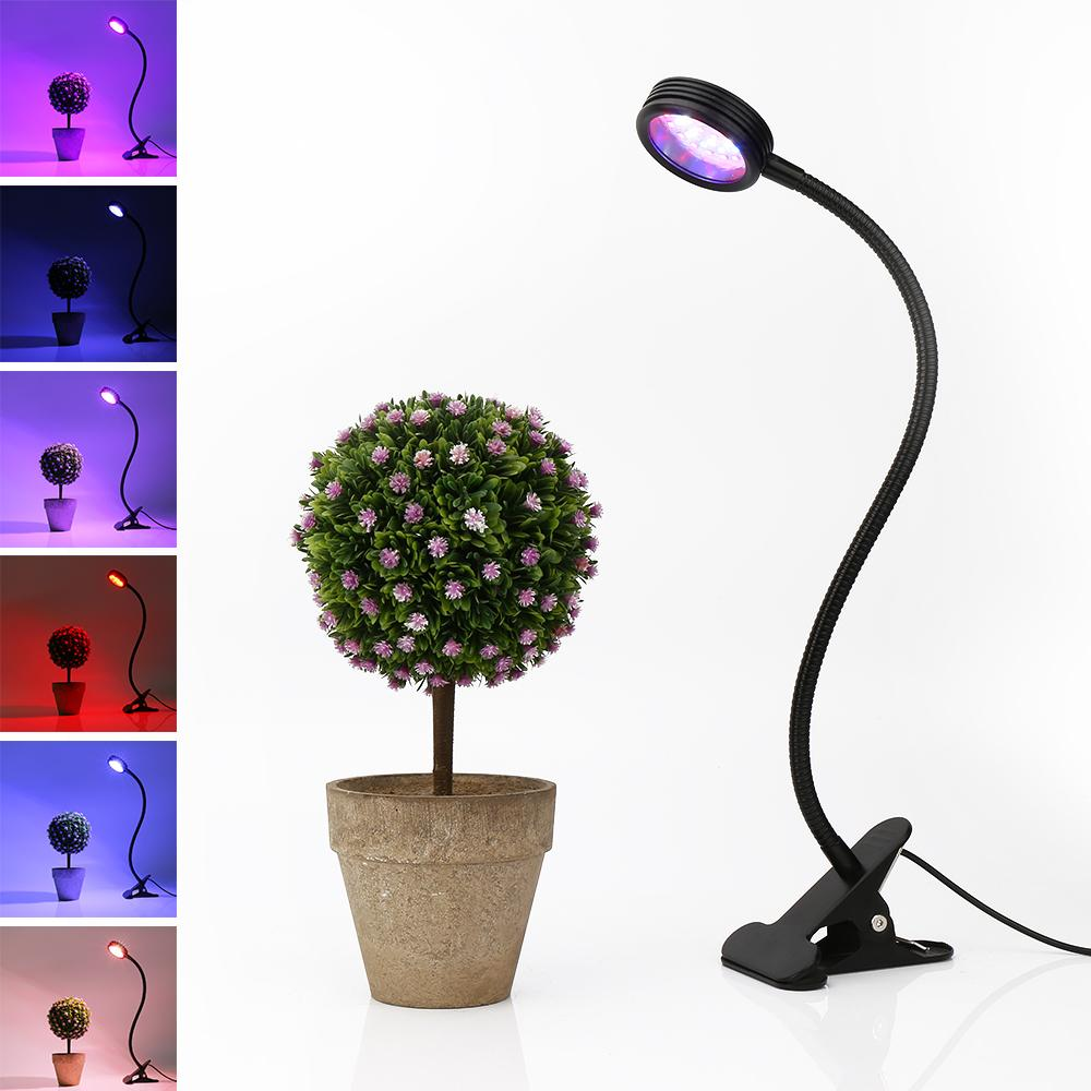 R B W 3 Mode 20W LED Grow Light with 360 Degrees Flexible Lamp Holder Clip  LED Plant Growth Light for Indoor or Desktop Plants