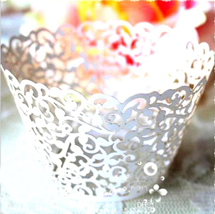 50pcs White Cupcake Wrappers Cup Cake Wrapper Lace Laser Cut Cake Paper Cup White Cupcake Wrapper Wedding Party Cake Baking Cup Holder