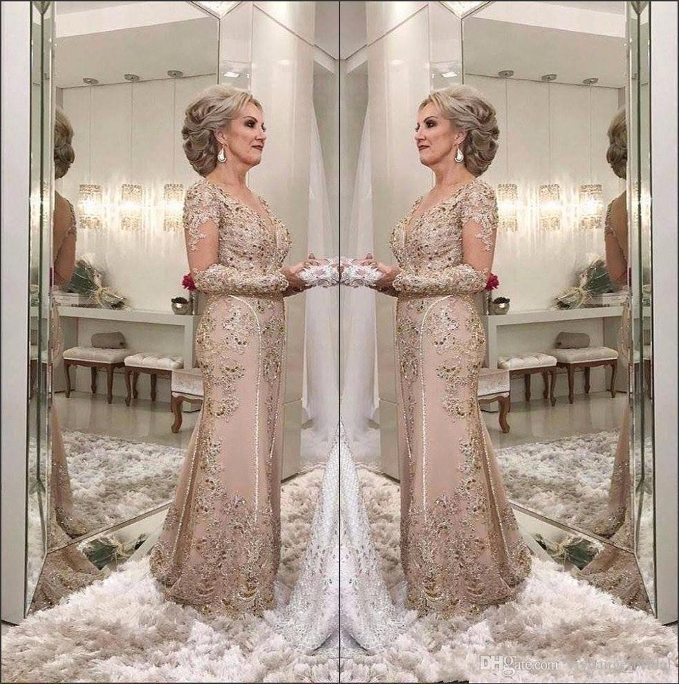 Luxury Mother Of The Bride Dresses 2019 V Neck Long