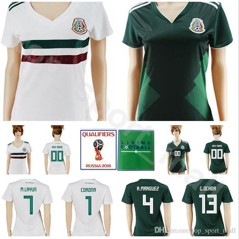 0a75ca27754 2019 Mexico Women Soccer Jersey Mexican Lady 4 MARQUEZ 7 LAYUN 9 JIMENEZ 1  CORONA 13 OCHOA 2018 World Cup Woman Football Shirt Kits Make Custom From  ...