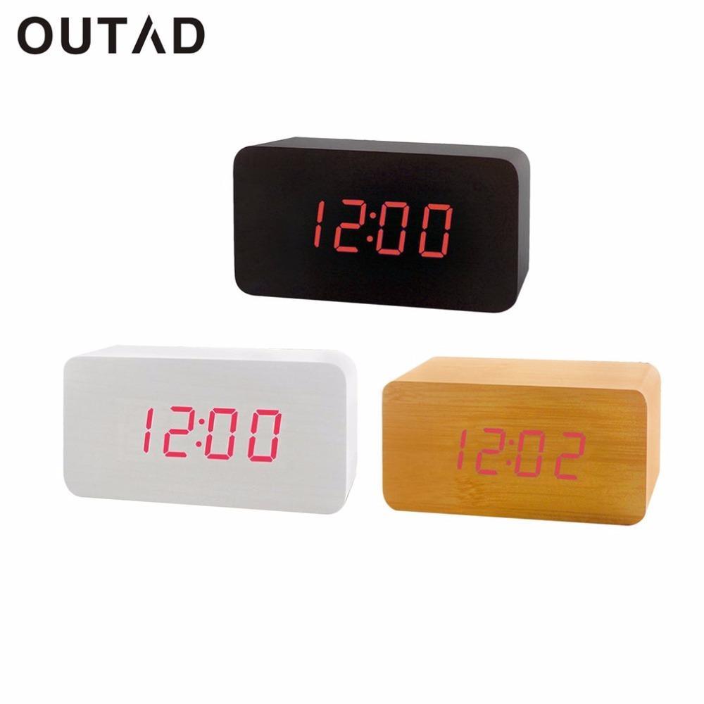 1a2dc29d985 Compre Moda De Madeira LEVOU Relógios Relógio Eletrônico De Alarme De  Controle De Voz Decorativa Digital Desktop Relógio Para O Estudo Do Quarto  De Aliceer