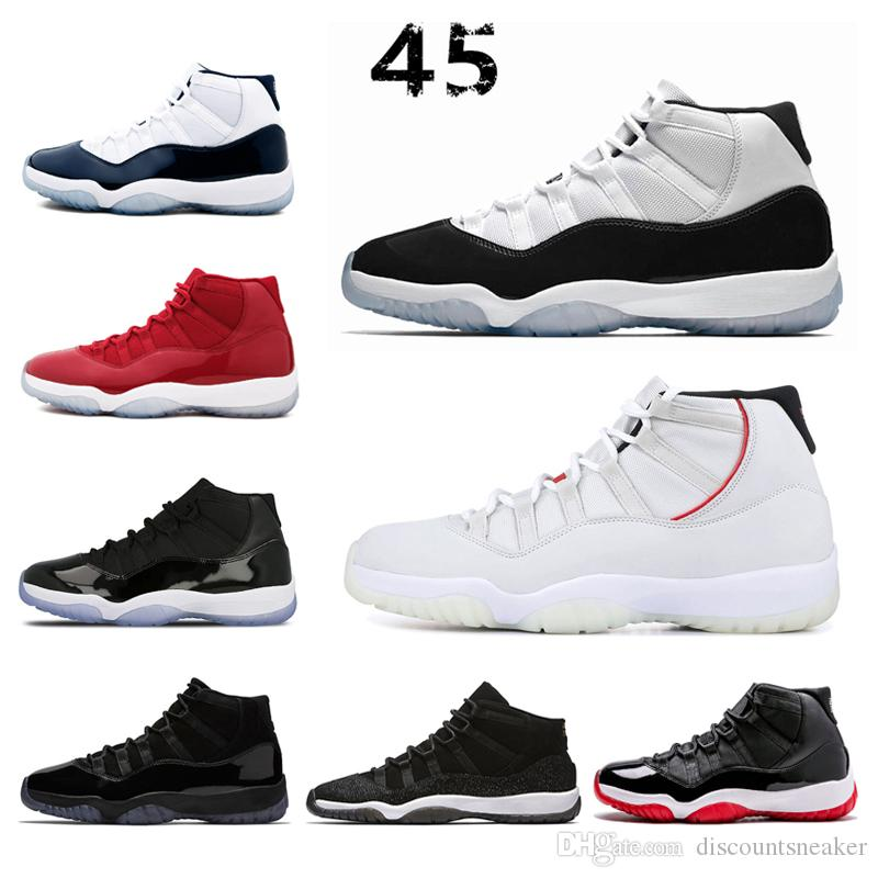 c47263811cf702 Designer 11 Concord 45 Men Basketball Shoes For Women Sneaker Black White  Platinum Tint Prom Night Gym Red Bred Trainer Sports Jogging Shoe Kevin  Durant ...