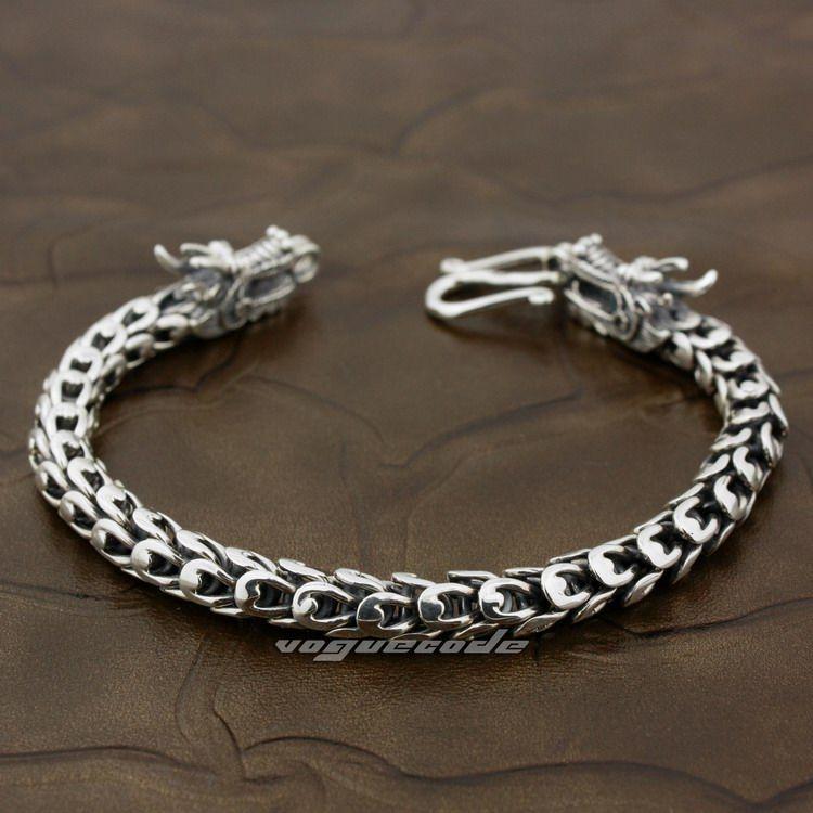 LINSION 925 Sterling Silver Handmade Dragon Chain Mens Biker Bracelet 8F003