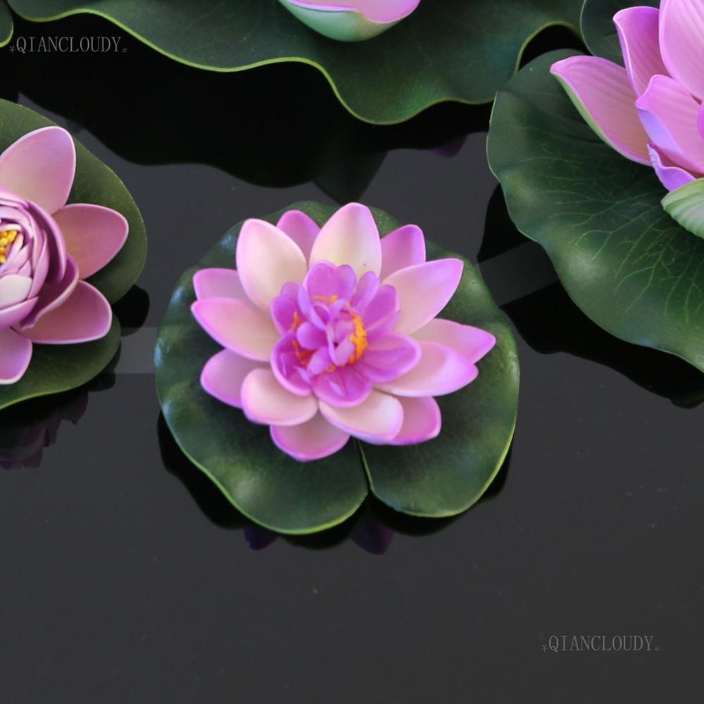 2018 Loating Flowers Wedding Artificial Light Purple Lotus Leaves