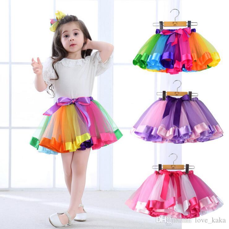 Les enfants de couleur arc-en-Tutu Robes nouveaux enfants Nouveau-né dentelle Princesse Jupe Pettiskirt Ruffle Ballet Dancewear Jupe Holloween Vêtements