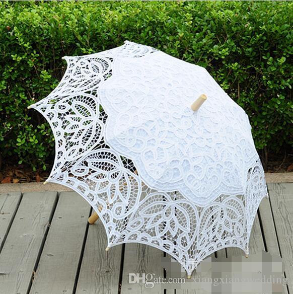 Parasoles de la boda paraguas hechos a mano de encaje Artifull sombrillas nupciales del jardín para novia boda de la dama de honor diámetro 32 pulgadas ES