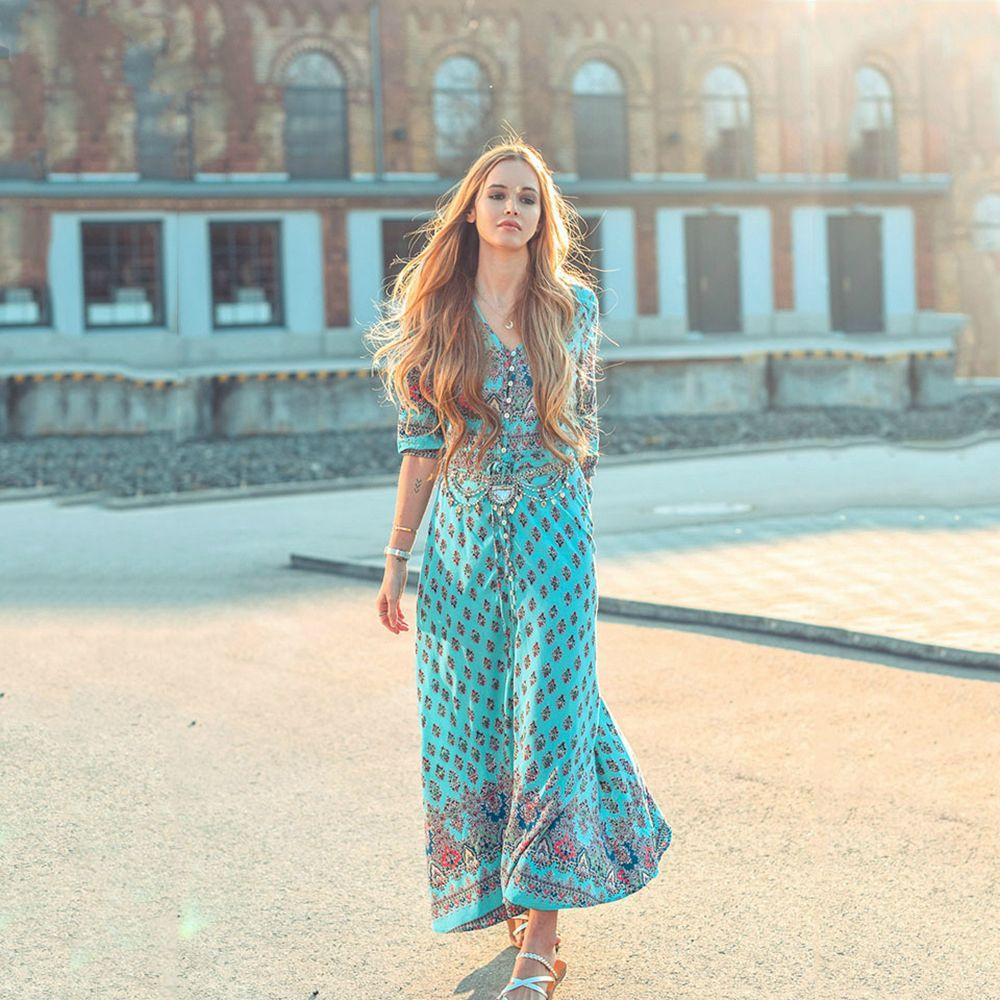 Summer Dress 2018 New Fashion Womens Dresses Plus Size Evening Party Beach  Dress Long Bohemian Dresses V Neck Printed Dress Knit Sundresses Dressing  Style ... 78bcc7734a0a