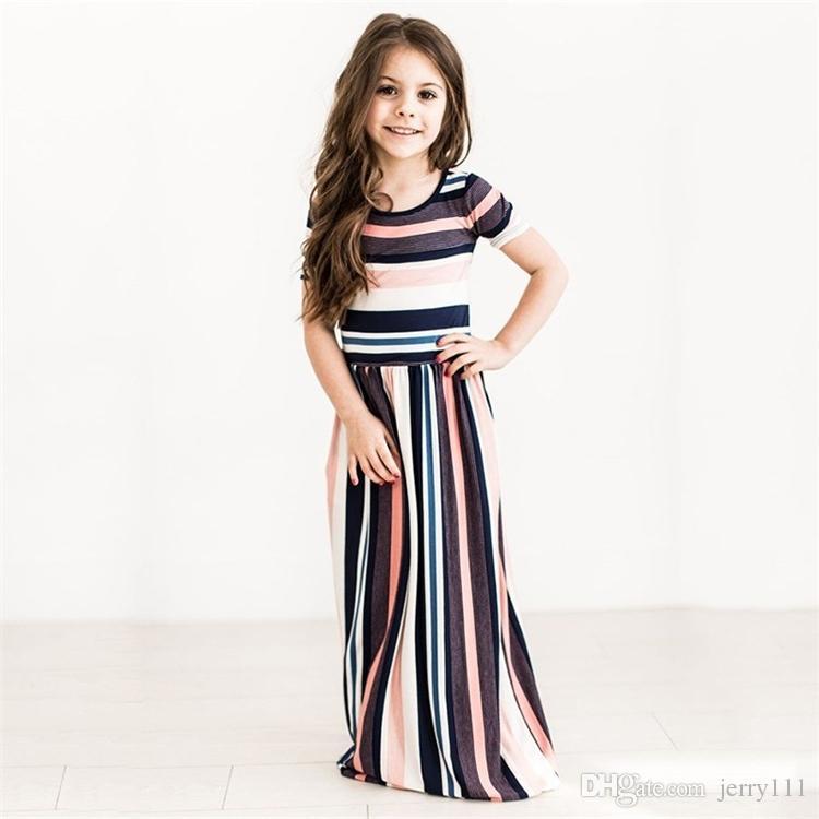 ac0f8ed9374c Mädchen Kleider Sommer Mädchen Kurzarm Striped Prinzessin Kleid Kinder  Kleider Girsl Beach Striped Kleider Kinder Kleidung LA713-2