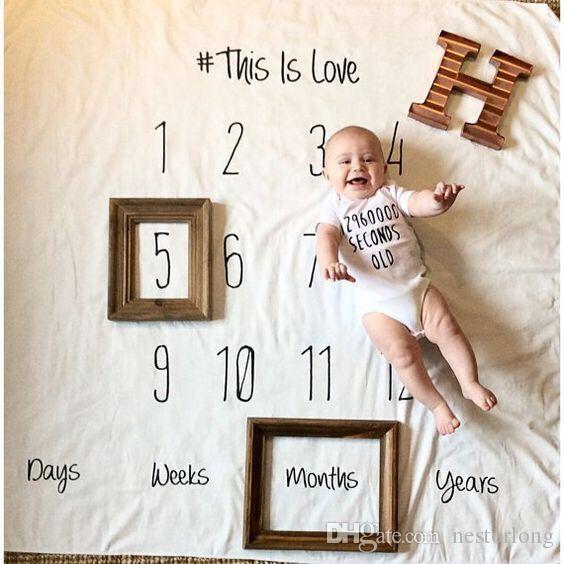 Infant Baby Meilenstein Decke Foto Fotografie Prop Decken Hintergrund Tuch Kalender Bebe Boy Girl Foto Zubehör 100x100 cm