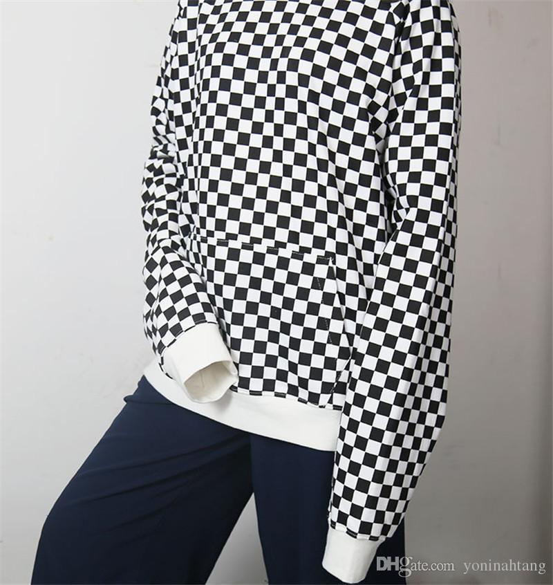 Venta al por mayor envío libre hombres algodón de alta calidad sudaderas con capucha de hip hop calle alta bloque de color a cuadros top ropa chándal