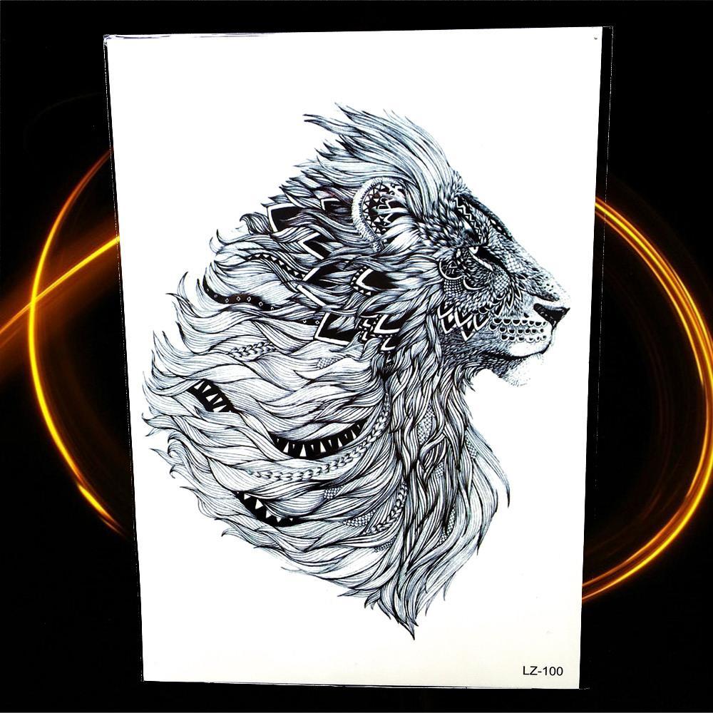 tatuagem metalizada new indian tribal leão tatuagem temporária 21