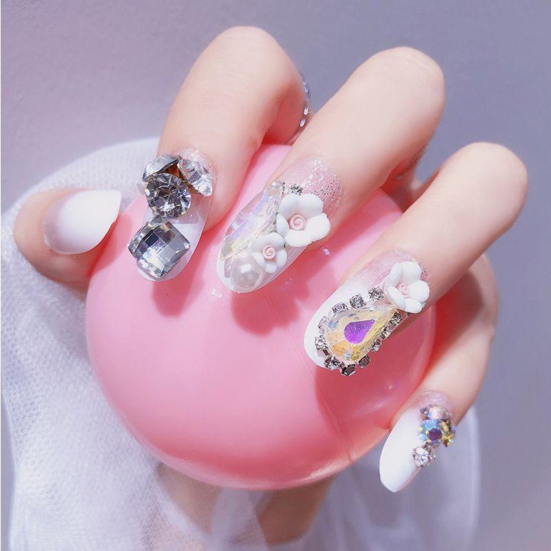 Grosshandel 24 Teile Satz Luxus Voller Diamanten Braut Nail Art Pre