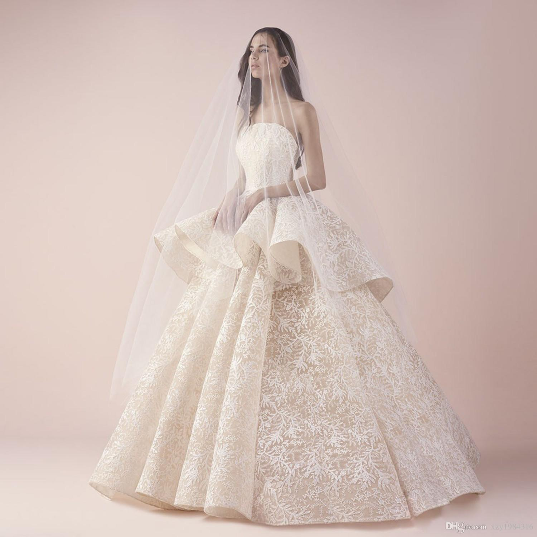Vestido de novia de encaje balón precioso vestido de novia vestidos de moda sin mangas de Peplum del cordón lleno de la Piso Longitud encargo vestido de novia