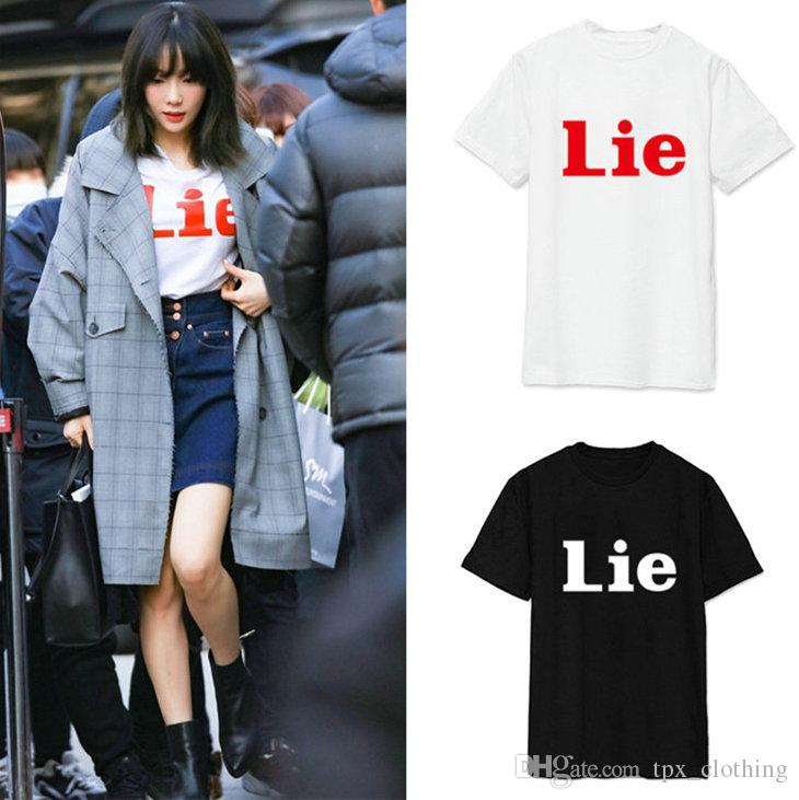 Lie t shirt Cool words crew neck short sleeve gown Street leisure tees  Unisex clothing Pure color cotton Tshirt