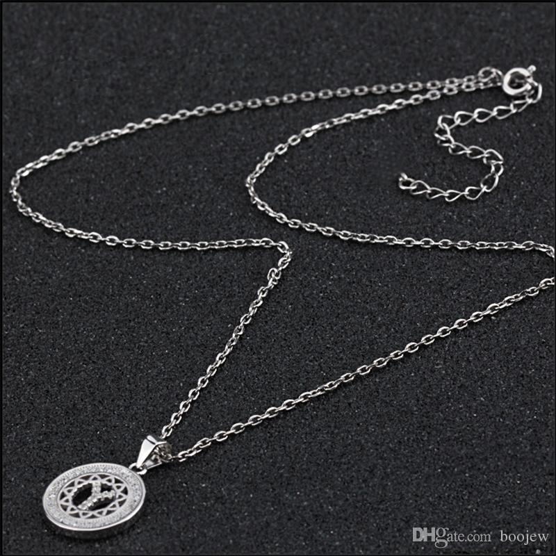 Creative Jewelry Chain Initial Alphabet Y Letter Silver Gift Necklaces Pendant Necklace with Zircon