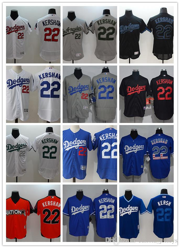 21763ef6d Custom Men Women Youth Majestic LA Dodgers Jersey  22 Clayton Kershaw Home  Blue Grey White Kids Girls Baseball Jerseys Los Angeles Dodgers Jersey  Clayton ...