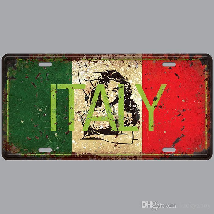 Italy Car Plates Number USA License Plate Garage Plaque Metal Tin Sign Bar Decoration Vintage Home Decor