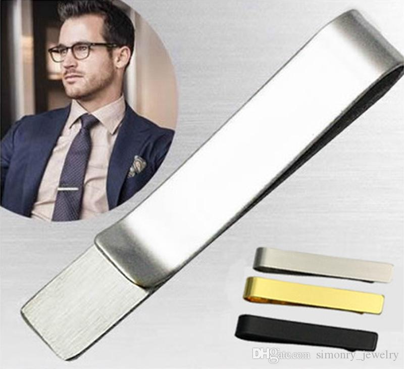 5c111cb858a0 2019 Tie Clip Stainless Steel Tie Bar Silver Black Golden For Men Gift  Popular Jewelry Slim Glassy Necktie Business Suits Accessories Wholesale  From ...
