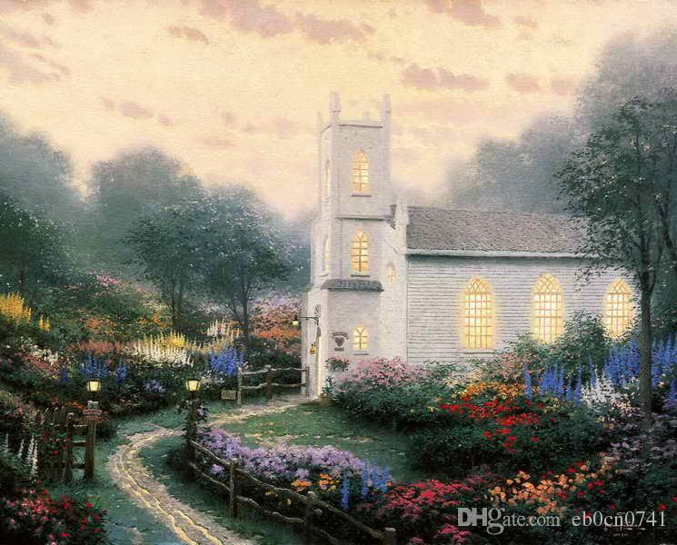 Blossom Hill Church Thomas Kinkade Oil Paintings Art Wall Modern HD Print On Canvas Decoration No Frame