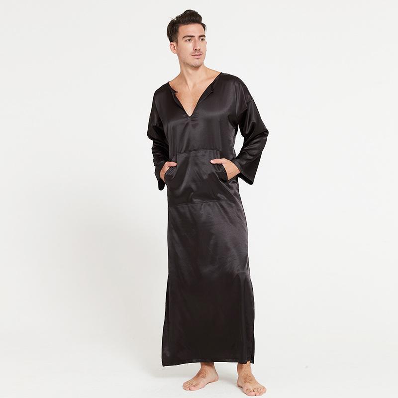 d1698191c Compre Macio De Seda Roupão De Banho Macho Completo Overpull Roupão De  Banho Dos Homens Conforto Desgaste Sleepwear Pijamas Peignoir Homme Casa  Desgaste De ...