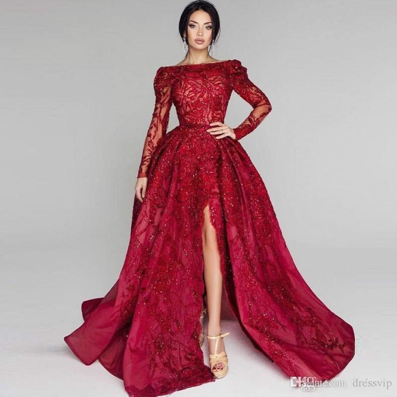 2018 Elie Saab Red Prom Dresses Off The Shoulder Lace Applique Side Split Beaded Long Sleeve Evening Gowns Sweep Train Formal Dress Party
