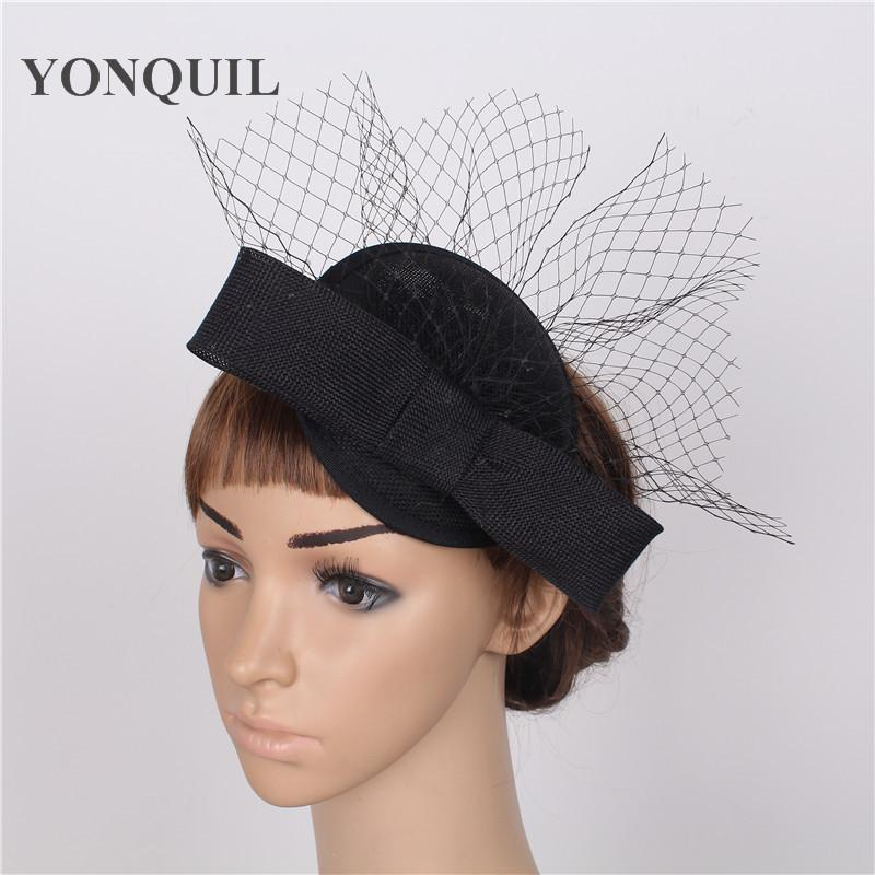 Elegant Imitation Sinamay Fascinators Base With Veils Wedding Headwear  Occasion Church Hats Black Hair Accessories Birthday Hat For Kids Birthday  Hat For ... 4bb5113b7cc