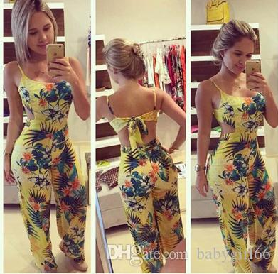 Hot Sell Summer woman clothe Chiffon Floral Underwear Sleeveless Camisole Neckline Bow Maxi Casual Jumpsuits