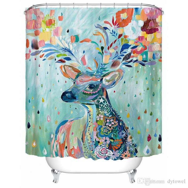 2019 2018 New Elk Deer Shower Curtains Washable Bath Decor Polyester Fabric Cute Animal Printed Bathroom With Hooks Home Decoration From Dytowel